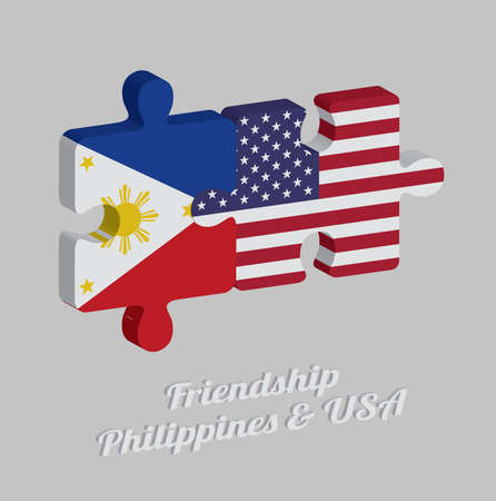 Jigsaw puzzle 3D of Philippines flag and America flag with text: Friendship Philippines & USA. Concept of Friendly or good compatibility between both countries.