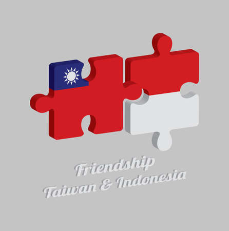 Jigsaw puzzle 3D of Taiwan flag and Indonesia flag with text: Friendship Taiwan & Indonesia. Concept of Friendly or good compatibility between both countries. Vector Illustration