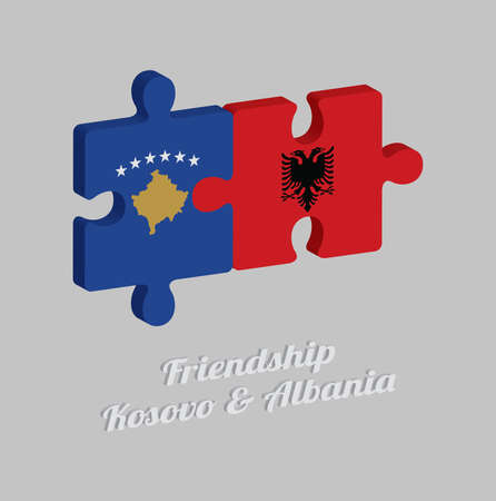 Jigsaw puzzle 3D of Kosovo flag and Albania flag with text: Friendship Kosovo & Albania. Concept of Friendly or good compatibility between both countries.