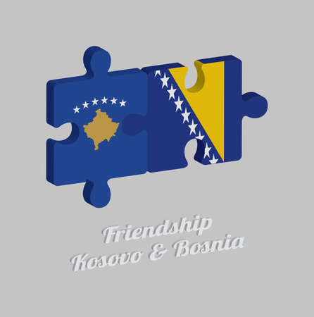 Jigsaw puzzle 3D of Kosovo flag and Bosnia flag with text: Friendship Kosovo & Bosnia. Concept of Friendly or good compatibility between both countries.