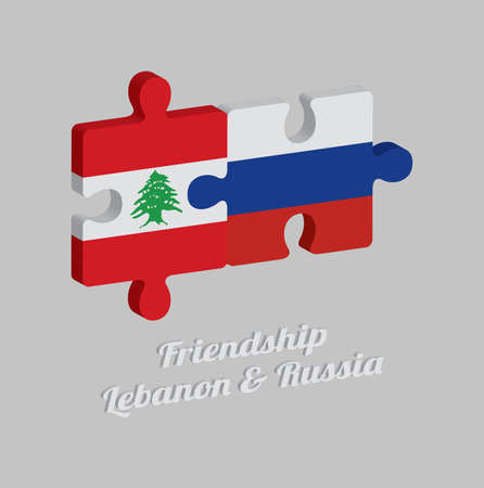 Jigsaw puzzle 3D of Lebanon flag and Russia flag with text: Friendship Lebanon & Russia. Concept of Friendly or good compatibility between both countries.