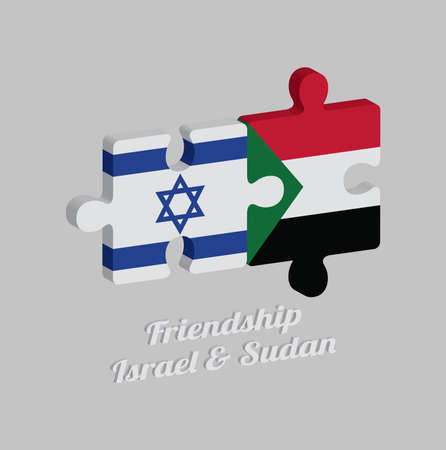 Jigsaw puzzle 3D of Israel flag and Sudan flag with text: Friendship Israel & Sudan. Concept of Friendly or good compatibility between both countries. Imagens - 120479356