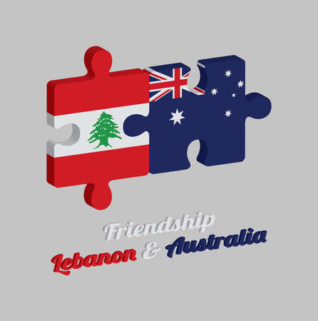 Jigsaw puzzle 3D of Lebanon flag and Australia flag with text: Friendship Lebanon & Australia. Concept of Friendly or good compatibility between both countries.