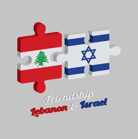 Jigsaw puzzle 3D of Lebanon flag and Israel flag with text: Friendship Lebanon & Israel. Concept of Friendly or good compatibility between both countries. Ilustração