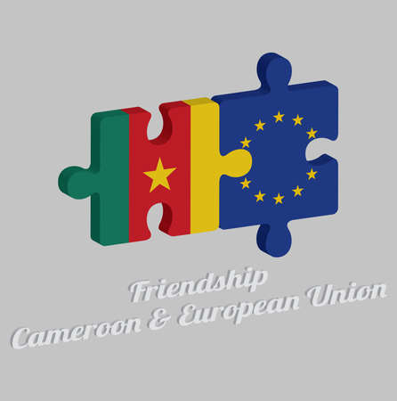 Jigsaw puzzle 3D of Cameroon flag and EU flag with text: Friendship Cameroon & Europe union. Concept of Friendly or good compatibility between both countries.