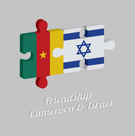 Jigsaw puzzle 3D of Cameroon flag and Israel flag with text: Friendship Cameroon & Israel. Concept of Friendly or good compatibility between both countries. Imagens - 120479548