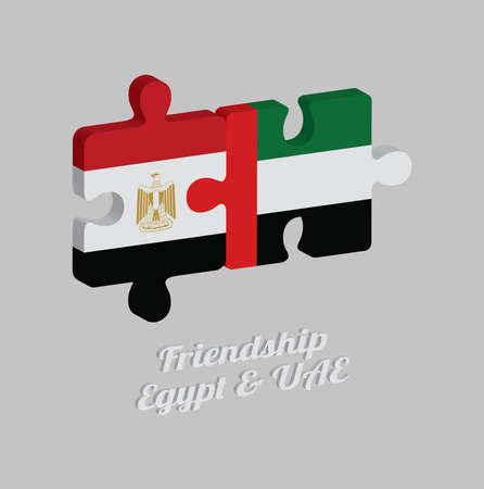 Jigsaw puzzle 3D of Egypt flag and UAE flag with text: Friendship Egypt & UAE. Concept of Friendly or good compatibility between both countries.