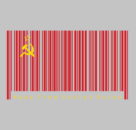 Barcode set the color of Soviet Union flag, a plain red flag with a golden hammer and sickle with red star, text Made from Soviet Union.
