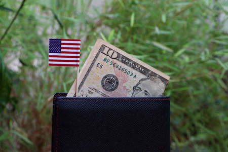 Banknote money ten US dollar and mini America flag on black wallet with green nature background. Concept of saving money or finance.