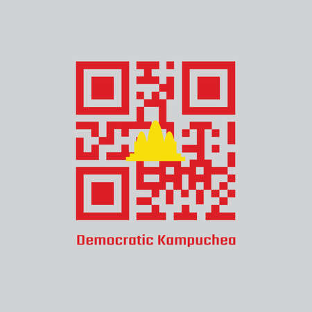 QR code set color of Democratic Kampuchea flag, refers to Cambodia between 1975 and 1979. 向量圖像
