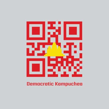 QR code set color of Democratic Kampuchea flag, refers to Cambodia between 1975 and 1979. Ilustração