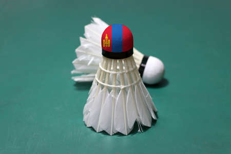 Used shuttlecock and on head painted with Mongolia flag put vertical and out focus shuttlecock put horizontal on green floor of Badminton court. Badminton sport concept. Stock Photo