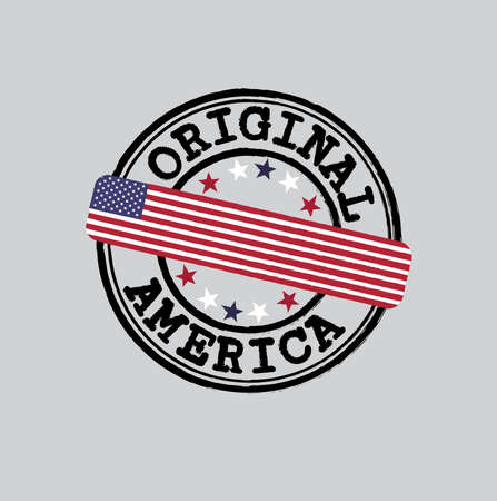 Vector Stamp  with text America and Tying in the middle with USA Flag. Grunge Rubber Texture Stamp of Original from United States of America. 일러스트