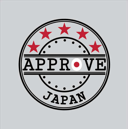 Vector Stamp for Approve logo with Japan Flag in the shape of O and text Japan. Grunge Rubber Texture Stamp of Approve from Nippon.