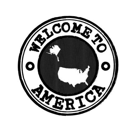 Vector Stamp of welcome to America  with nation map outline in the center. Grunge Rubber Texture Stamp of welcome to United States of America.