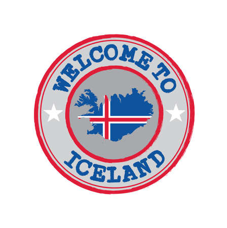 Vector Stamp of welcome to Iceland with nation flag on map outline in the center. Grunge Rubber Texture Stamp of welcome to Iceland.