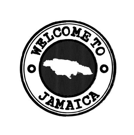 Vector Stamp of welcome to Jamaica with nation map outline in the center. Grunge Rubber Texture Stamp of welcome to Jamaica.