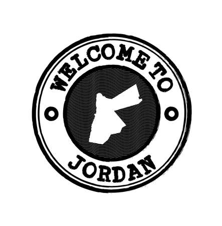 Vector Stamp of welcome to Jordan with nation map outline in the center. Grunge Rubber Texture Stamp of welcome to Jordan.