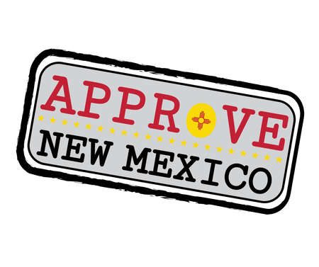 Vector Stamp for Approve logo with New Mexico Flag in the shape of O and text New Mexico. Grunge Rubber Texture Stamp of Approve from New Mexico.
