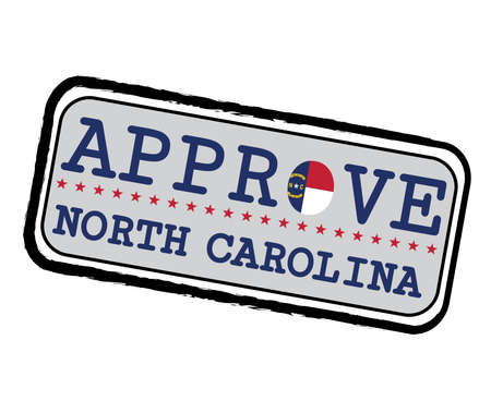 Vector Stamp for Approve logo with North Carolina Flag in the shape of O and text North Carolina. Grunge Rubber Texture Stamp of Approve from North Carolina. 일러스트