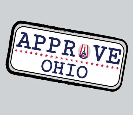 Vector Stamp for Approve logo with Ohio Flag in the shape of O and text Ohio. Grunge Rubber Texture Stamp of Approve from Ohio. 일러스트
