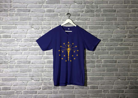 Indiana flag on shirt and hanging on the wall with brick pattern wallpaper, The states of America.
