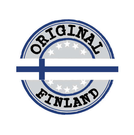 Vector Stamp for Original   with text Finland and Tying in the middle with Finland Flag. Grunge Rubber Texture Stamp of Original from Finland.
