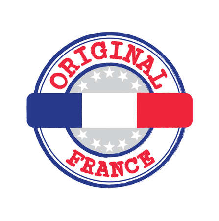 Vector Stamp for Original with text France and Tying in the middle with France Flag. Grunge Rubber Texture Stamp of Original from France.