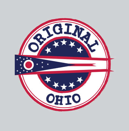 Vector Stamp for Original  with text Ohio and Tying in the middle with States Flag. Grunge Rubber Texture Stamp of Original from Ohio. 일러스트