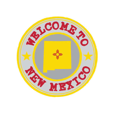 Vector Stamp of welcome to New Mexico with states flag on map outline in the center. Grunge Rubber Texture Stamp of welcome to New Mexico.