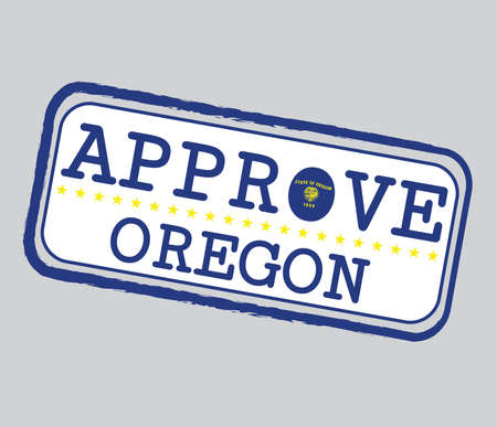 Vector Stamp for Approve  with Oregon Flag in the shape of O and text Oregon. Grunge Rubber Texture Stamp of Approve from Oregon. 일러스트