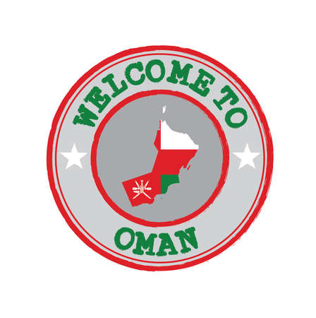 Vector Stamp of welcome to Oman with nation flag on map outline in the center. Grunge Rubber Texture Stamp of welcome to Oman.