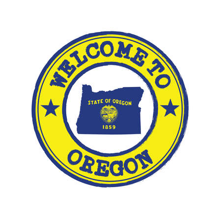 Vector Stamp of welcome to Oregon with states flag on map outline in the center. Grunge Rubber Texture Stamp of welcome to Oregon.
