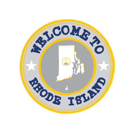 Vector Stamp of welcome to Rhode Island with states flag on map outline in the center. Grunge Rubber Texture Stamp of welcome to Rhode Island.