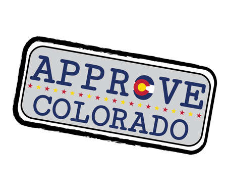 Vector Stamp for Approve logo with Colorado Flag in the shape of O and text Colorado. Grunge Rubber Texture Stamp of Approve from Colorado.