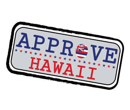 Vector Stamp for Approve logo with Hawaii Flag in the shape of O and text Hawaii. Grunge Rubber Texture Stamp of Approve from Hawaii. 일러스트