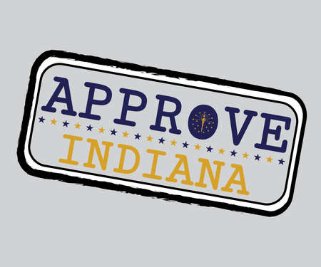 Vector Stamp for Approve logo with Indiana Flag in the shape of O and text Indiana. Grunge Rubber Texture Stamp of Approve from Indiana. Illustration