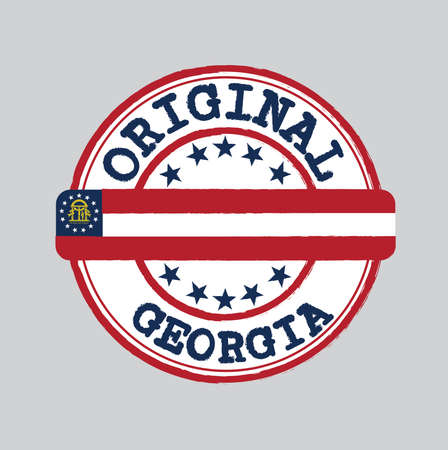 Vector Stamp for Original logo with text Georgia and Tying in the middle with States Flag. Grunge Rubber Texture Stamp of Original from Georgia. Illustration