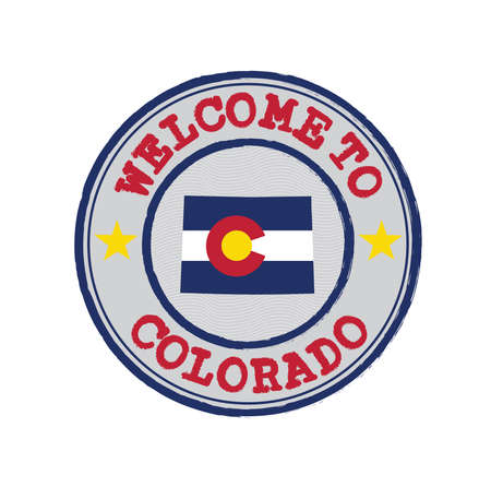 Vector Stamp of welcome to Colorado with states flag on map outline in the center. Grunge Rubber Texture Stamp of welcome to Colorado.