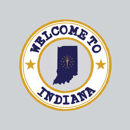 Vector Stamp of welcome to Indiana with states flag on map outline in the center. Grunge Rubber Texture Stamp of welcome to Indiana.