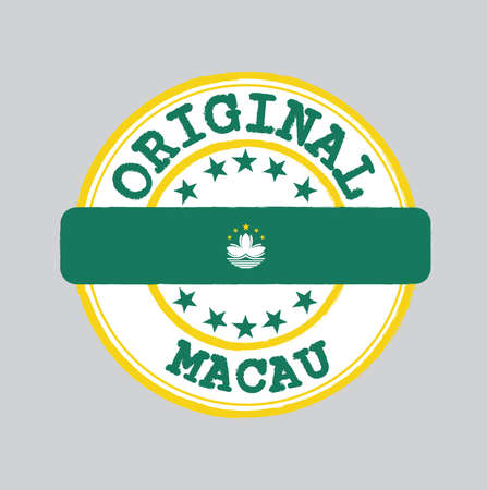 Vector Stamp for Original logo with text Macau and Tying in the middle with nation Flag. Grunge Rubber Texture Stamp of Original from Macau.