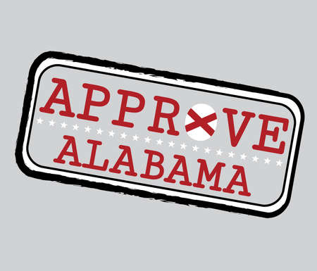 Vector Stamp for Approve logo with Alabama Flag in the shape of O and text Alabama. Grunge Rubber Texture Stamp of Approve from Alabama.