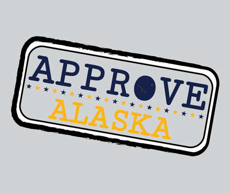 Vector Stamp for Approve logo with Alaska Flag in the shape of O and text Alaska. Grunge Rubber Texture Stamp of Approve from Alaska. Ilustrace