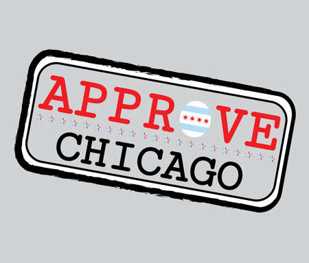 Vector Stamp for Approve logo with Chicago Flag in the shape of O and text Chicago. Grunge Rubber Texture Stamp of Approve from Chicago.