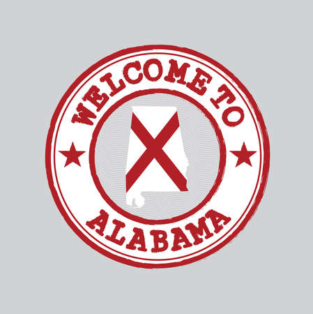 Vector Stamp of welcome to Alabama with states flag on map outline in the center. Grunge Rubber Texture Stamp of welcome to Alabama.