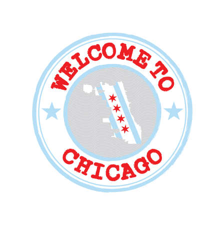 Vector Stamp of welcome to Chicago with city flag on map outline in the center. Grunge Rubber Texture Stamp of welcome to Chicago. Illusztráció