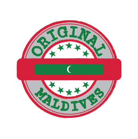 Vector Stamp for Original logo with text Maldives and Tying in the middle with nation Flag. Grunge Rubber Texture Stamp of Original from Maldives.
