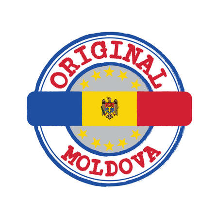 Vector Stamp for Original logo with text Moldova and Tying in the middle with nation Flag. Grunge Rubber Texture Stamp of Original from Moldova.