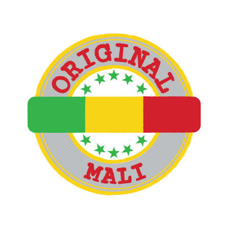 Vector Stamp for Original logo with text Mali and Tying in the middle with nation Flag. Grunge Rubber Texture Stamp of Original from Mali.