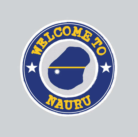 Vector Stamp of welcome to Nauru with nation flag on map outline in the center. Grunge Rubber Texture Stamp of welcome to Nauru.